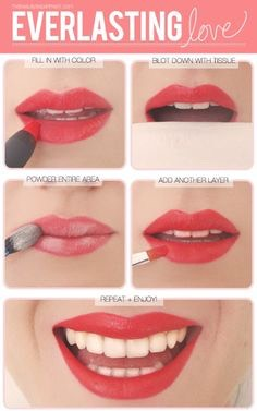 3. Blot, Blot  After applying one coat of lipstick, blot with a tissue and then paint another coat. The blotting eliminates any oil on the lips that could work as a barrier.