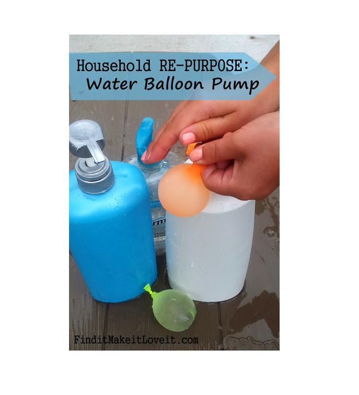 Use an old lotion pump to fill water balloons.