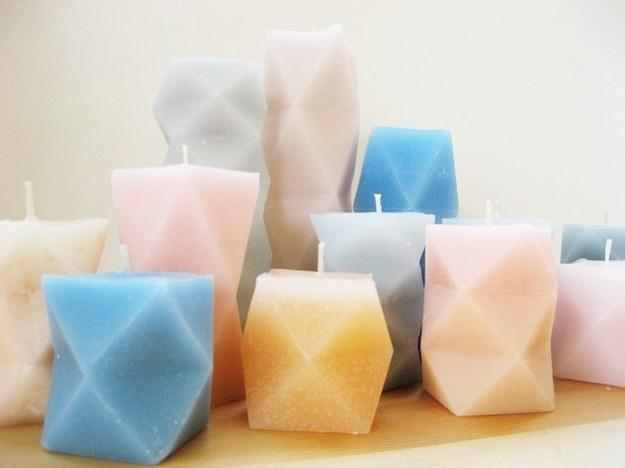 8. These geometric candles.  http://howdidyoumakethis.com/geometric-candles/