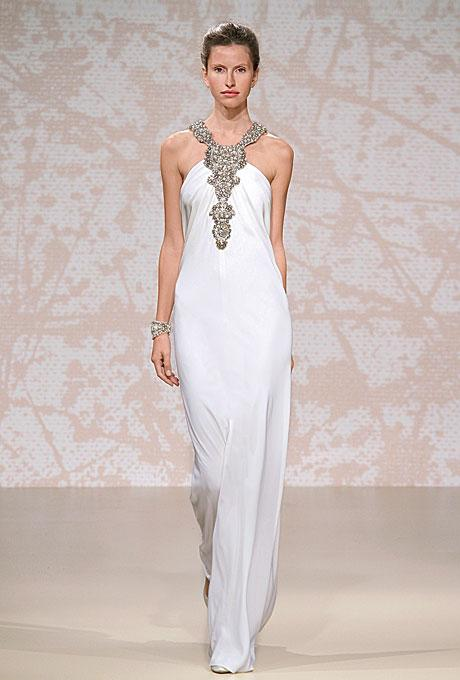 Jeweled or beaded necklines pull focus to the face.