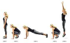 Burpees: This is one of the most challenging exercises, because it wipes you out after only a couple reps! Hang in there, though – the benefits are worth it!  Beginner: 3 sets of 10 (without the push up – see below) Advanced: 3 sets of 15 (for an added challenge, add a push up when you have jumped