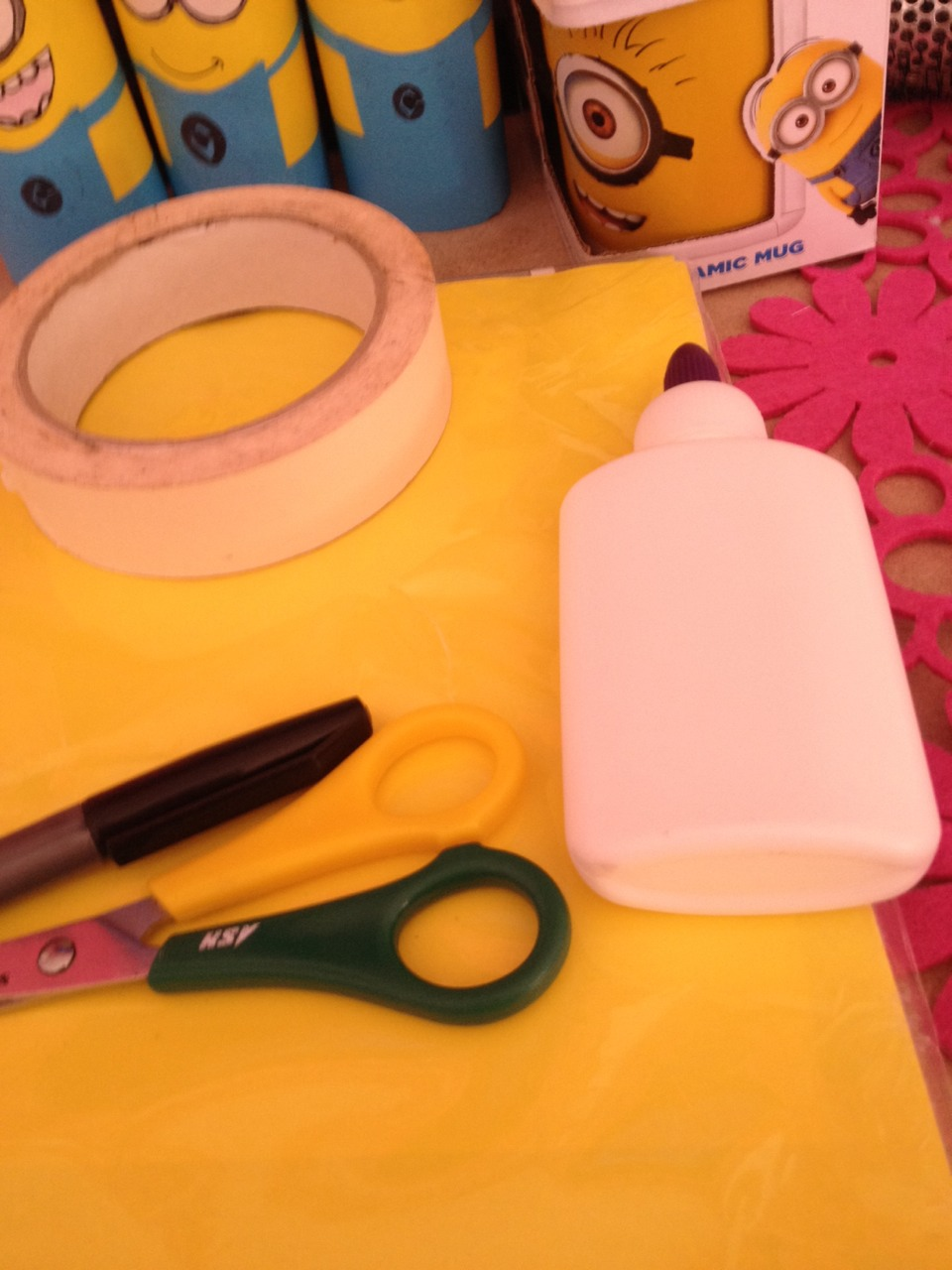 Also you will need scissors, double tape, glue and few felt tip pens