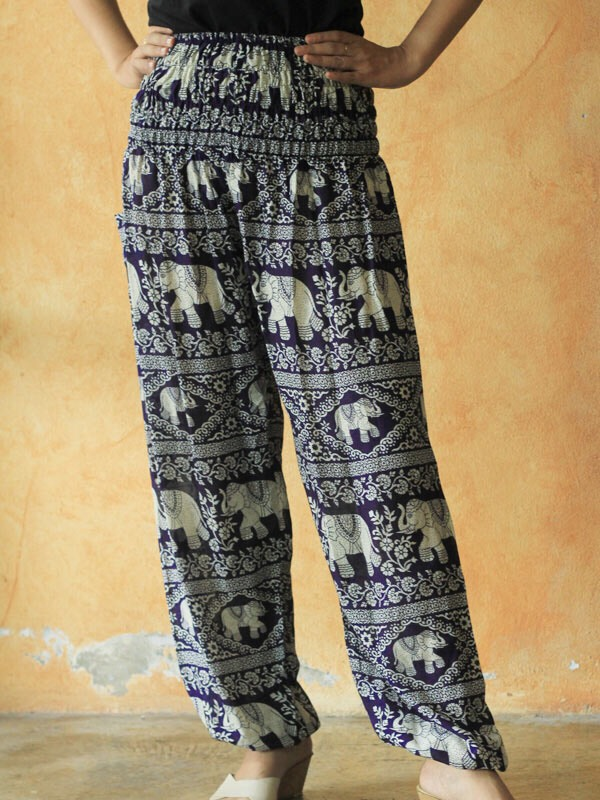 1. The Elephant Pants- Very bohemian, loose-fitting pants that feature large side pockets and a cinched waist. This store's sizing is one size fits nearly all. The cool thing about them is that they donate $1-2 for every pair of pants purchased to the African Wildlife Foundation. (Links at the end)