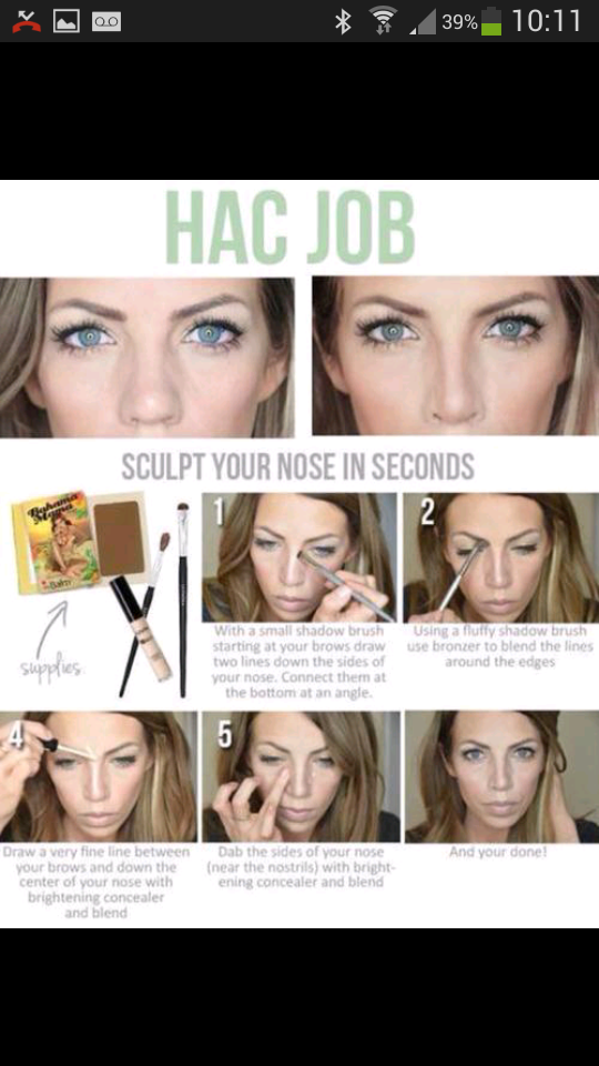 By following these steps you can achieve a silmer looking nose.Not only good for those self conscious of there nose,but is also useful in creating a sharper look with more attention to the eyes