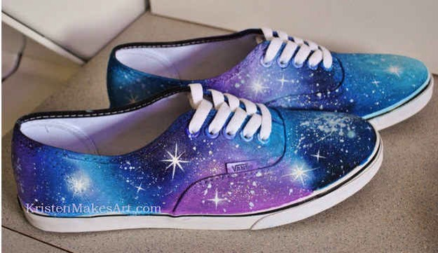 11. Get some cute galaxy shoes with acrylic paint and a sponge.  Great way to reuse a stained pair of white keds, converse, etc..