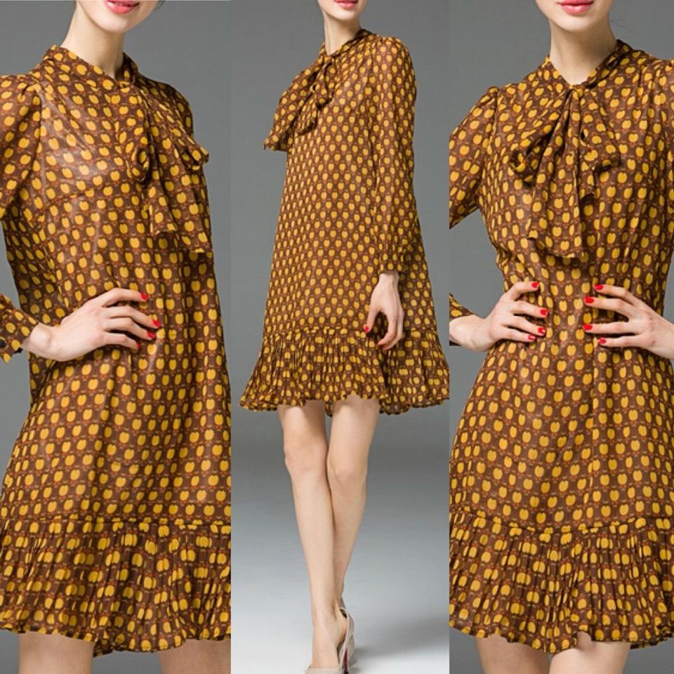 $31.99 http://m.romwe.com/Mustard-Tie-Neck-Ruffle-Cherries-Dress-p-151319-cat-664.html