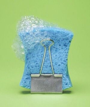 Binder Clip as Sponge Stand To prevent a smelly, waterlogged sponge, air-dry it in a binder clip away from the sink.