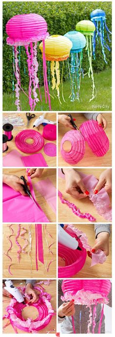an extra decoration is a jelly fish the picture they use table cloth. but i found it easier to buy yards of ruffled ribbon and string.