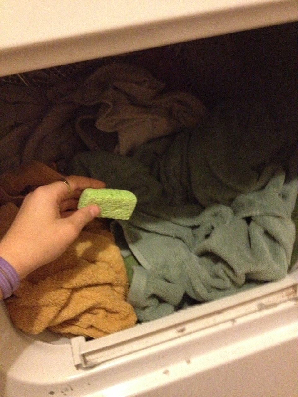 when dryer is finished find the dried sponge and take it out.