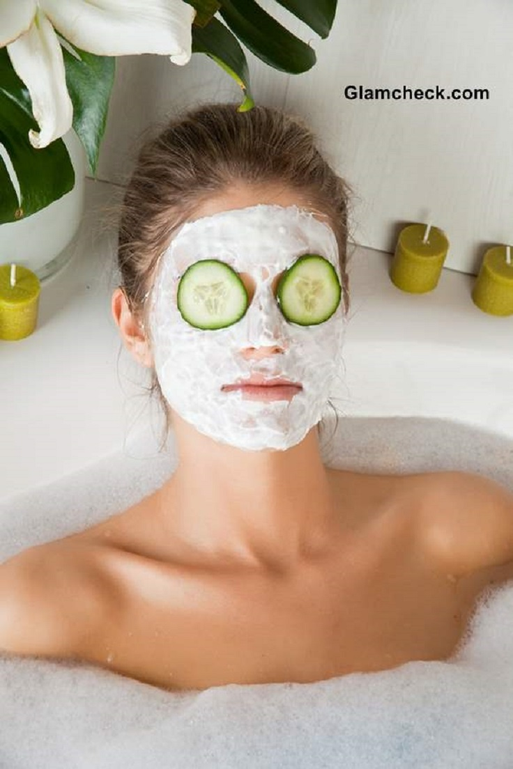Cool Cucumber Mask  This one is especially great for oily or inflamed skin. Blend 1/2 of a cucumber with 1 tablespoon of honey and 1 teaspoon ofbentoniteor kaolin clay. Add additional clay if needed to create a paste. Apply to face and leave on for 20 minutes. Remove with a washcloth and warm water. Good for: All skin types, especially cooling for acne prone skin.