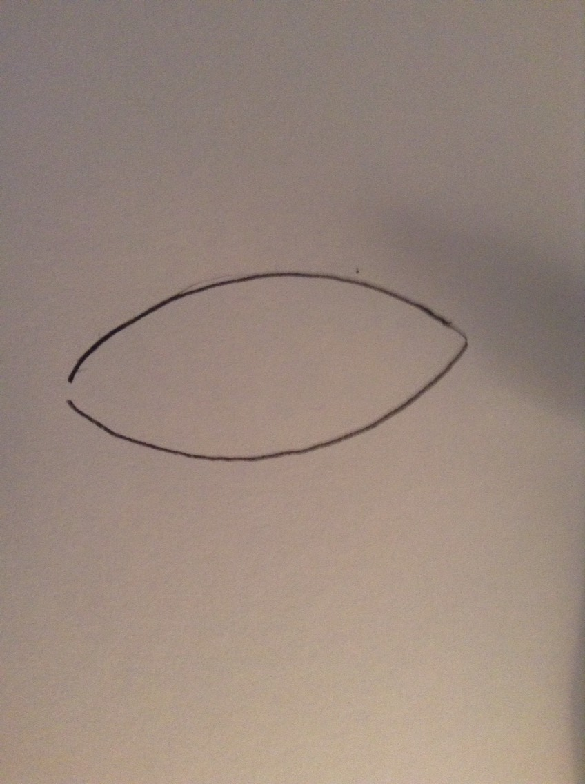 Draw a line curving downwards for the bottom of the eye