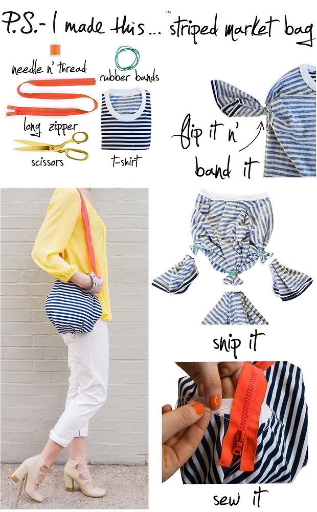 2. Striped t-shirt market bag