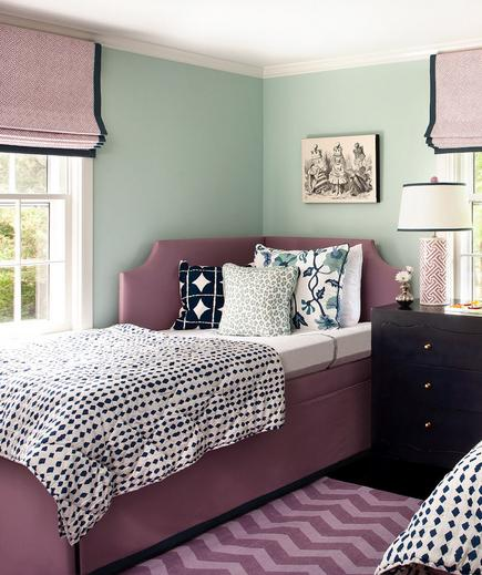 Fresh Perspective A guest bedroom is the perfect spot to experiment with fresh color combinations. Mint green, burgundy, and navy make an inviting and gender-neutral palette.