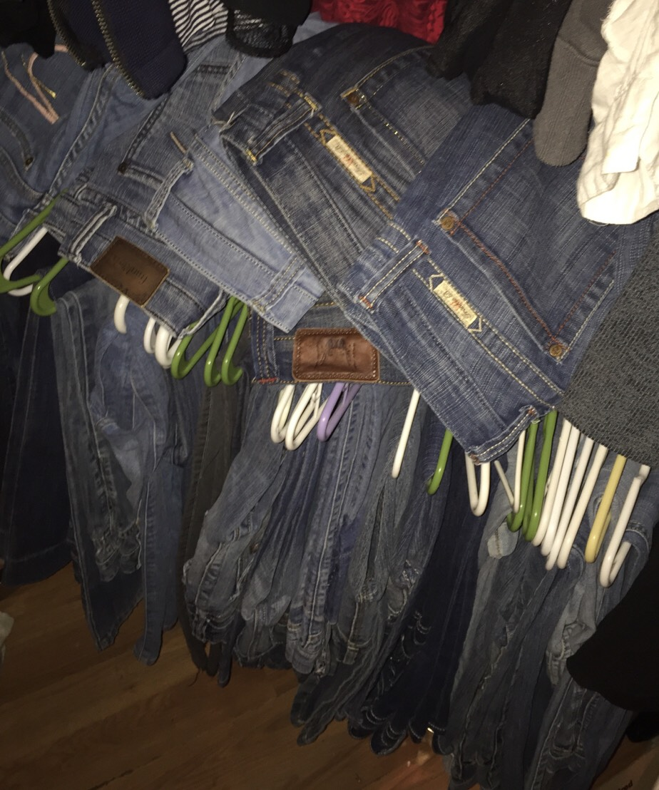 "My ""back-up"" denim (meaning; the pairs that don't make the closet-cut). REALLY?! I live in the desert so I only wear one pair at a time. Why am I keeping these? Believe me when I tell you nothing looks as good as being (credit card) debt-free! So take a deep breath and get ready to make some money.."