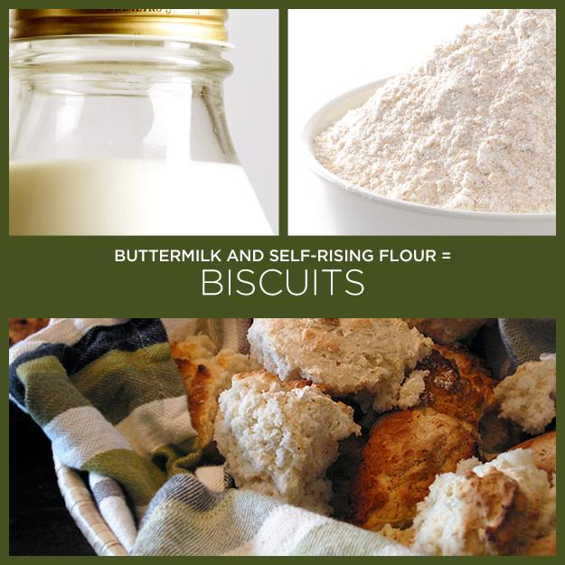 25. Buttermilk + Self-Rising Flour = Biscuits