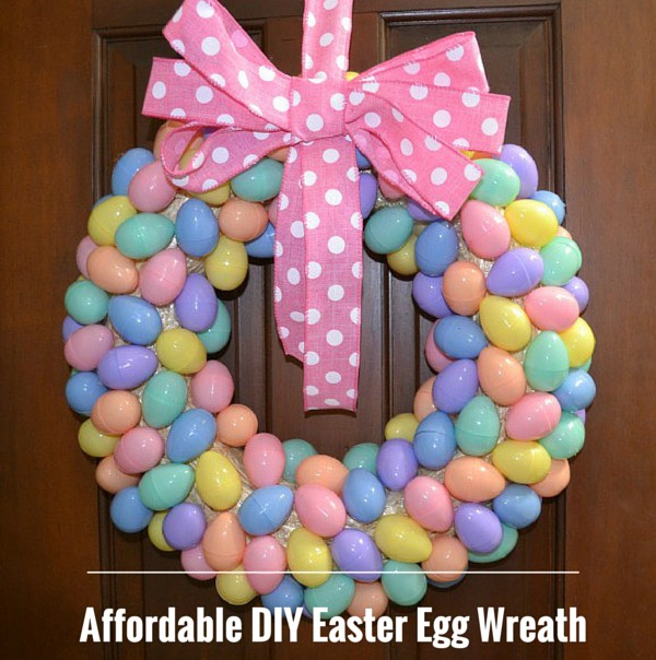 This would be especially cheap! Because you can go to the dollar tree and get a bunch of plastic eggs for only $1! Then all you do is plug your hot glue gun in and glue them together and then add the bow if you want!