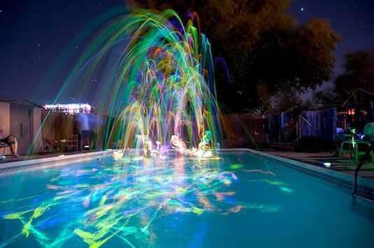 Glow stick pool party