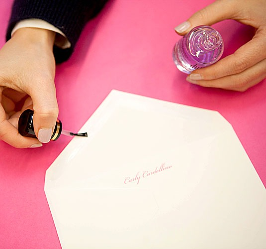 7. Seal envelopes with a clear top or base coat.