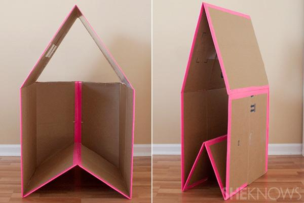 10. Fold the cardboard playhouse You should now be able to collapse your playhouse for storage.