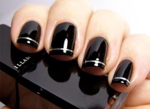 18. BLACK WITH SILVER STRIPES