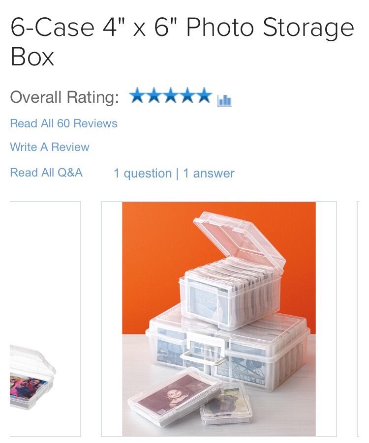$9.99http://www.containerstore.com/s/6-case-4-x-6-photo-storage-box/d?productId=10020697&q=Photo%20boxes