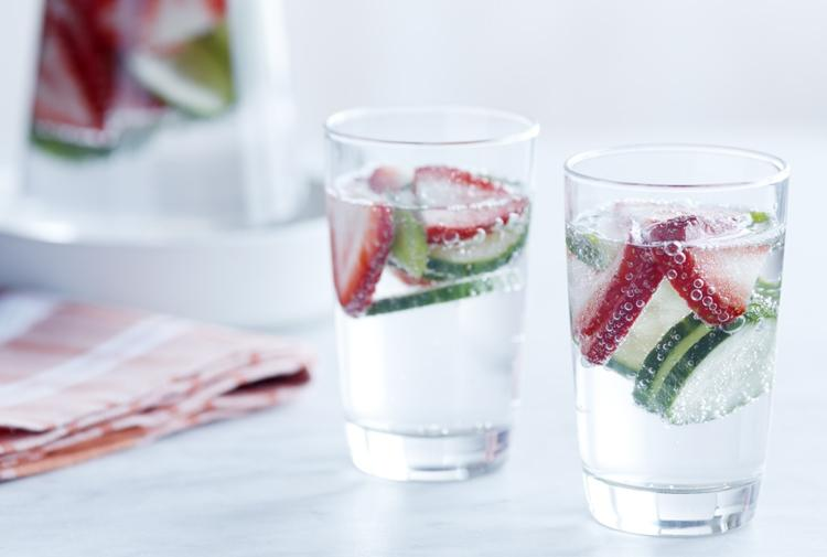 6. Strawberries, cucumber and basil Transform your water into a refreshing treat with the simple addition of strawberries, sliced cucumber and fresh basil! The strawberries have vitamins and antioxidants, cucumbers aid in digestion, and the basil will give your water a fresh taste