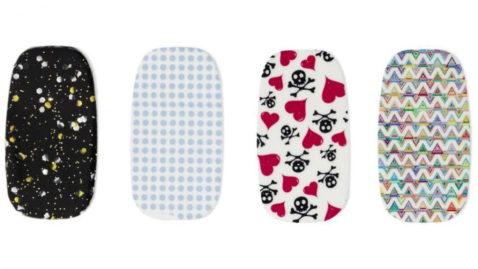 "Sally Hansen Salon Effects Real Nail Polish Strips in Heart Breaker, $10 ""Lovely Nail Art, lasts 10 days, removes with a polish remover."""