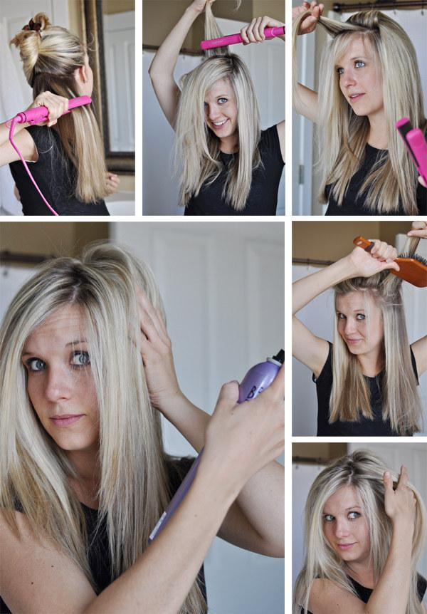 6. When you get to the crown, flat-iron your hair up and toward the ceiling to get volume.