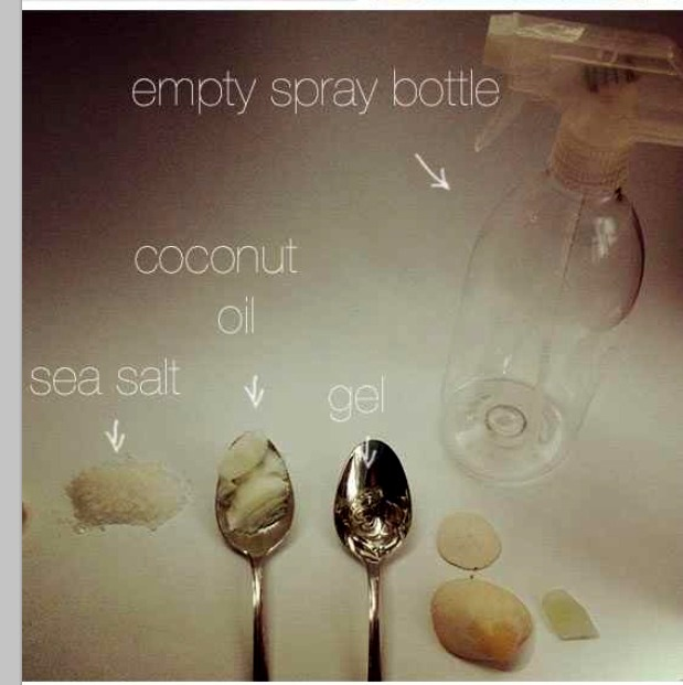 Get the ingredients ready. An empty spray bottle, coconut oil, sea salt, and any kind hair gel.