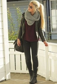 A fall outfit essential is definitely a big, warm scarf. If it's too warm still, you can drop the scarf