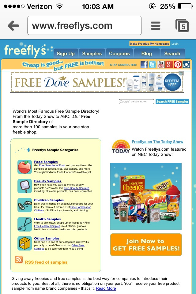 My favorite sample website is freeflys.com. As you can see they offer both samples and coupons. I have never received a virus from them and you don't have to give out tons of information about yourself. I have never received any junk mail or anything I didn't request.