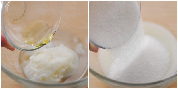 Soften the coconut oil in the microwave for about 15 seconds. Add the grapefruit and almond oils and stir to combine. Add the sugar and stir to combine. This recipe makes about 1 cup of sugar scrub.