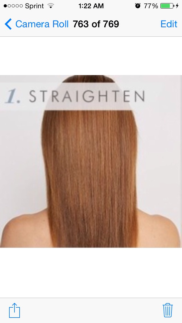 Separate your hair into two sections and flat iron for extra smoothness.