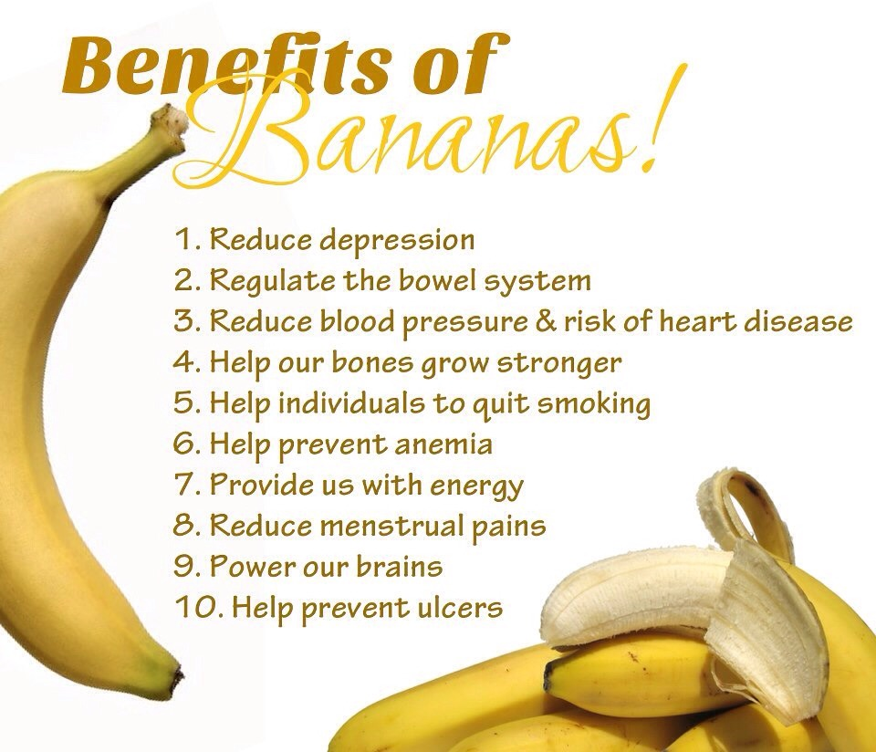 5. 	Improve your mood and reduce PMS symptoms by eating a banana, 	 	which regulates blood sugar and produces stress-relieving relaxation 6. 	Bananas reduce swelling, protect against type II diabetes, aid weight  	loss, strengthen the nervous system, and aid with the production of white blood cells.