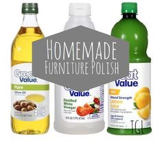 Wood Polish:  Ingredients: vegetable oil, vinegar  Mix a solution of equal parts vegetable oil and vinegar. That's it! Apply a thin coat to any wood that needs a buff.