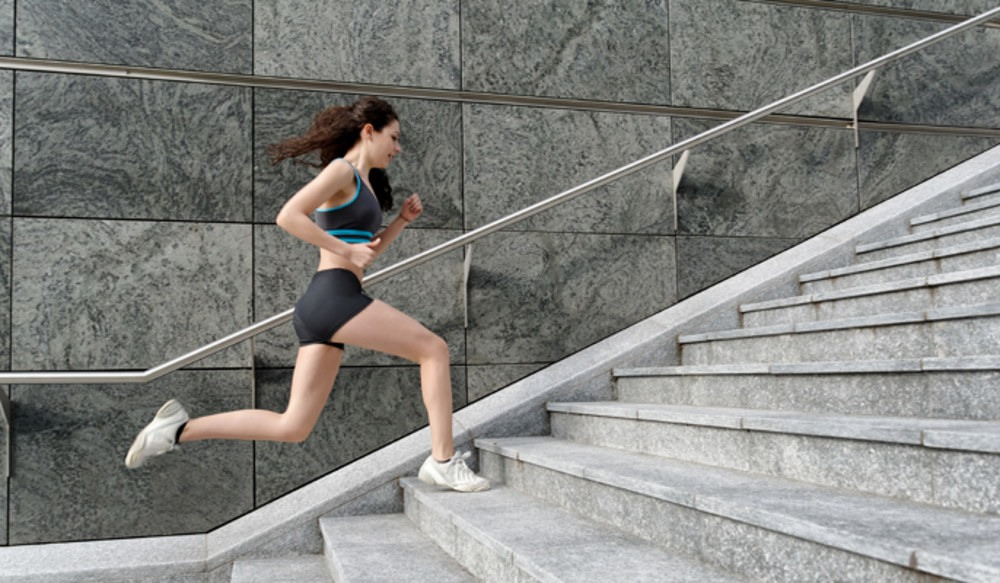 Start off by running/jogging up and down 9 flights of stairs. Try to keep a consistent pace!