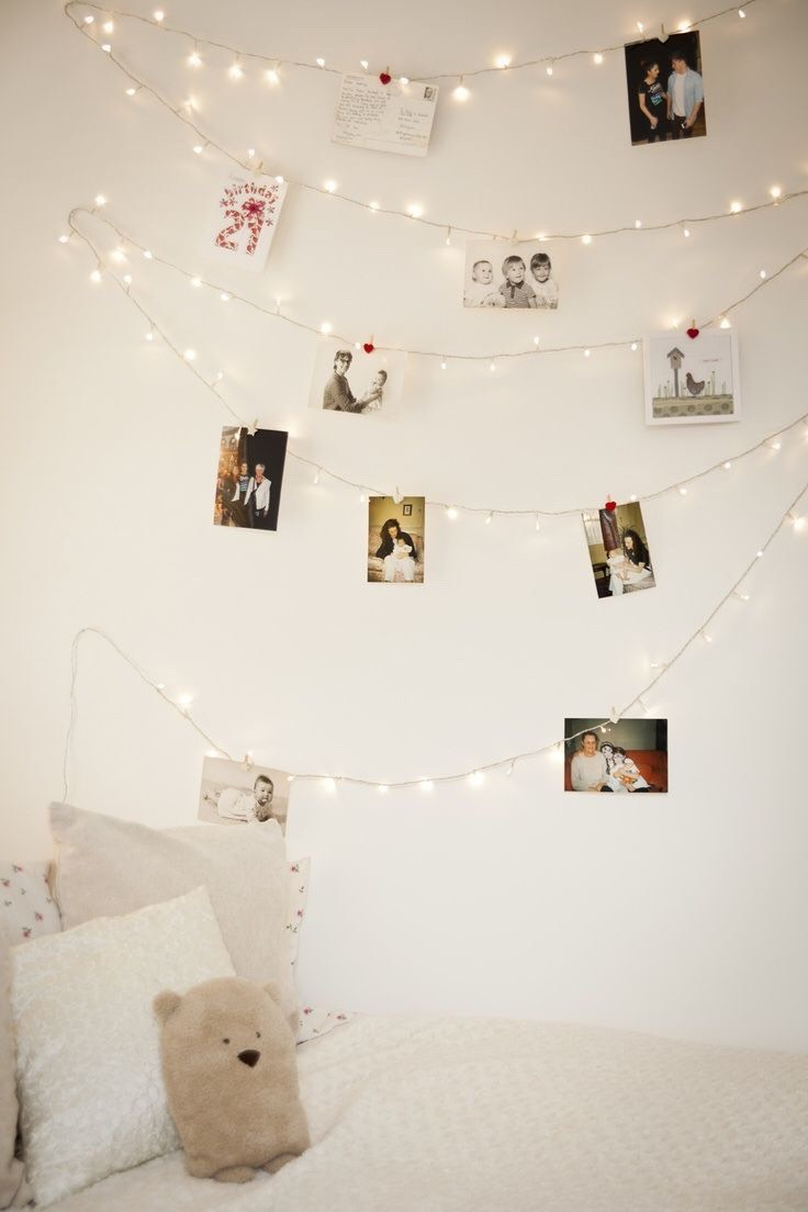 2. Photo Line: Use clothespins to pin your favorite photos to the wall in one glowing, brilliant display!