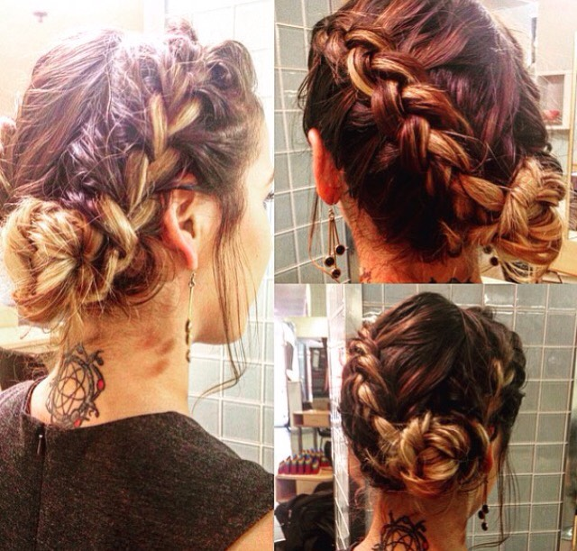 French braids combined into a flower bun at the back