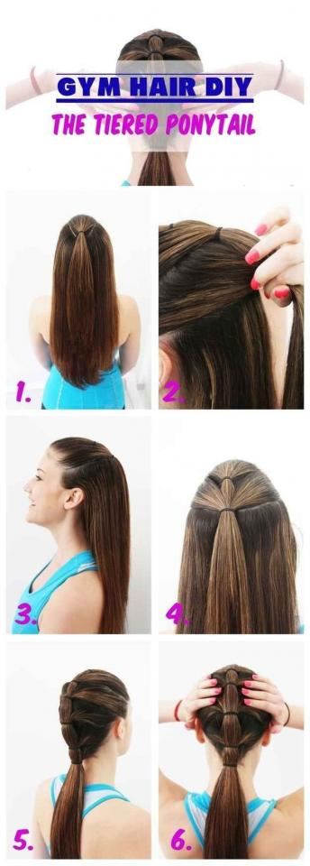 11. A tiered ponytail is the most secure way to pull your hair back while exercising.