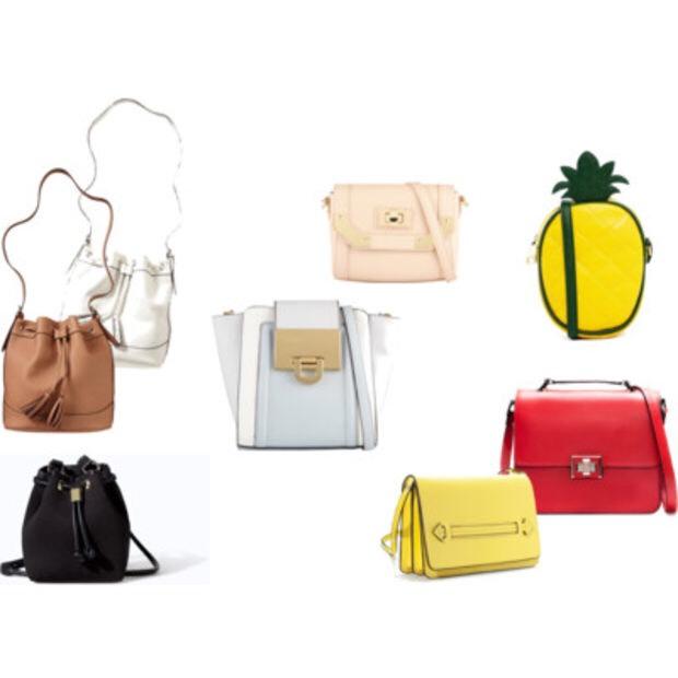 Tan and white bucket bags,$28at Old Navy; Black bucket bag,$40at Zara; Pastel pink bag,$30at Aldo; Pastel blue bag,$45at Aldo; Yellow bag,$36at Zara; Red bag,$49at Zara; Pineapple bag,$34at Asos.