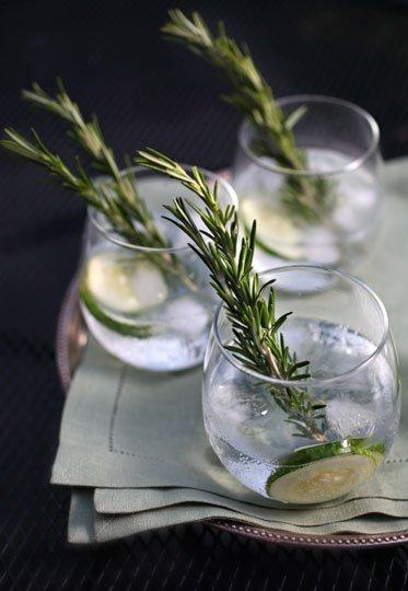 Cucumber-Rosemary Gin and Tonic 1 cucumber 1 lime 3 sprigs rosemary 2 oz. Hendrick's Gin 4 oz. tonic water (preferably Q or Fever-Tree) ice  Peel one half of a cucumber, and slice a lime into eight wedges. In a highball glass, add three slices of peeled cucumber, 1 sprig rosemary, juice from