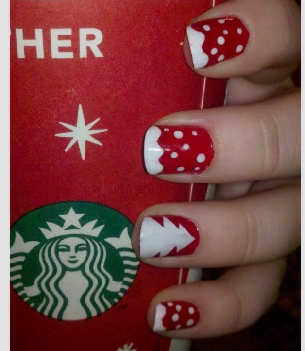 All you need is red and whey nail polish! You can use a tooh pick or a nailpolish spotter and for the tree if your good you can free hand and if not you can always taper he shape of  the tree on your nails with tape after the red is completly dry !