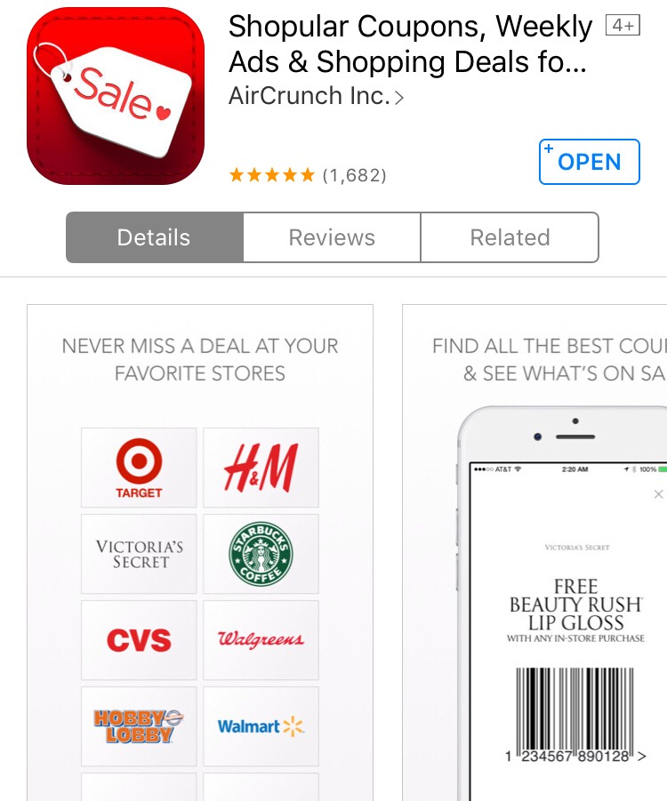 Know about amazing deals going on at your favorite store(s). Coupons come on your phone and notifies you when you're close to your store and what deals are going on