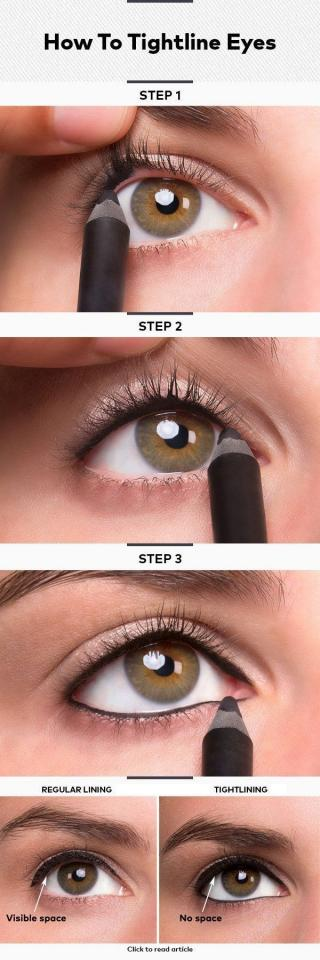 12. If you think eyeliner looks a little too intense on your face, try tightlining — which is putting the liner *beneath* your lash line.  Waterproof liner is ideal because you don't want all that effort to rub off as soon as your eyes water.