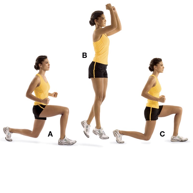 30 jumping lunges