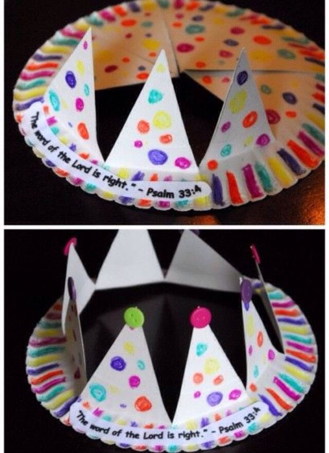 Make a paper crown out of a paper plate.