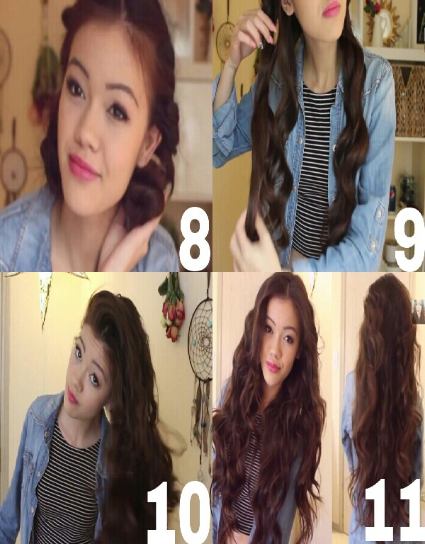 8. once you've twisted to the bottom, form a bun & repeat with the other side(sleep with it in overnight or keep in for a few hours) . 9.Once you wake up pull out bun & undo twists. 10. Neaten & hairspray too keep curls set throughout the day. 11. Example.