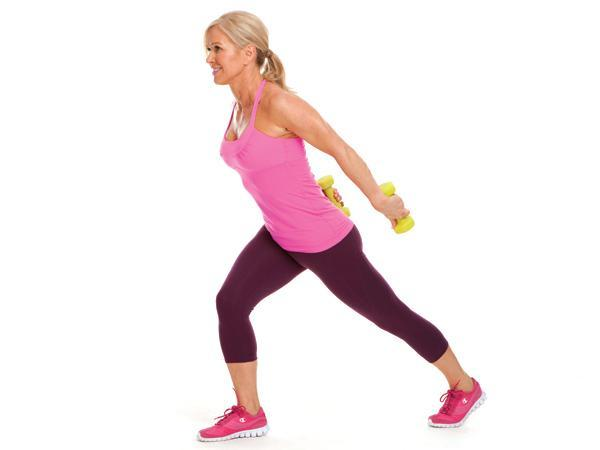 Week 2: Triceps Press Back with Toe-Tap Lunge  Targets: triceps, butt  Stand with feet together, knees slightly bent, and dumbbells curled toward chest. Tap left foot behind you while straightening elbows and extending arms back, squeezing triceps. Alternate legs with each rep.