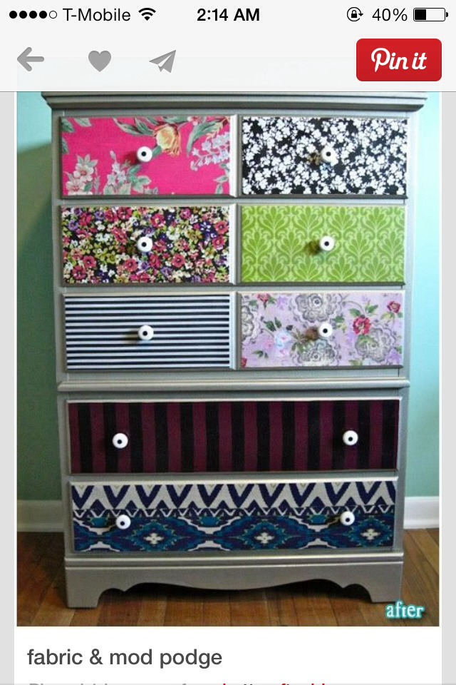 Gather fabrics, measure, mark, cut.   Even thorough layer of mod podge where fabric will be, put on the fabric and press down.   Later of mod podge on top of fabric, let dry.   Trim off extra.