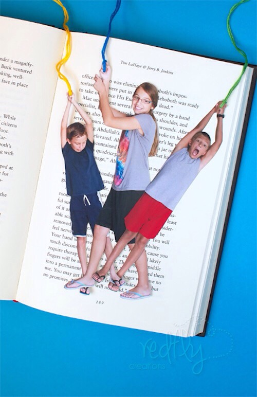 2. Fun Photo Bookmarks These custom photo bookmarks would be perfect for the grandparents! And just think of how much fun the photo shoot would be? This tutorial also comes with instructions on how to make the colorful tassels.
